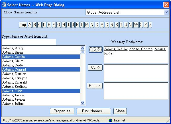 Messageware Plus Pack address book